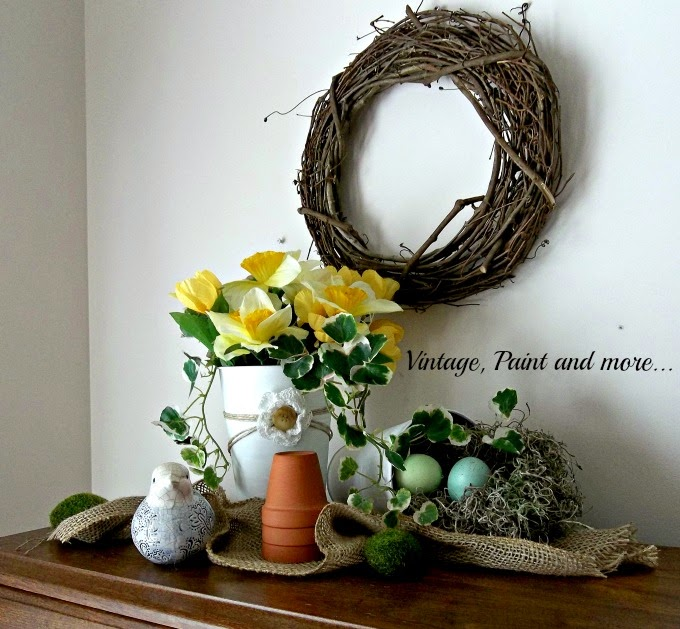 Spring Vignette - spring flower decor, burlap ribbon, grapvine wreath