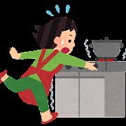 地震になりガスを止める人のイラスト(事故)