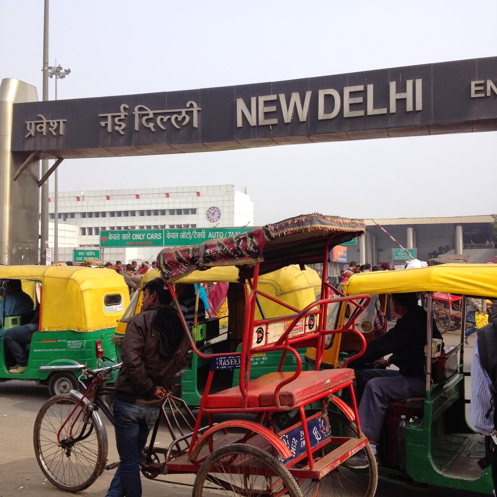 Cycle rickshaw and auto rickshaw in Delhi, India