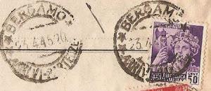 FRANCOBOLLO DELLA R.S.I. CON ANNULLO DELL' UFICIO POSTALE DI BERGAMO IN DATA 23 APRILE 1945