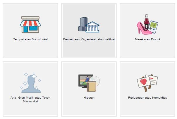 pilih kategori fanpage