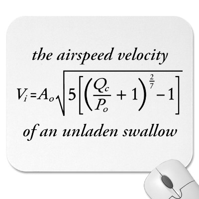 Airspeed of a laden swallow