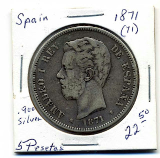 Spain 5 Pesetas 1871(71),.900 Silver,Fine