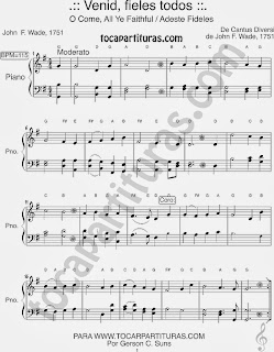 Partitura Fácil de Adeste Fideles para Pianistas Principiantes en Sol Mayor Venid Fieles Easy Sheet Music for beginners in G