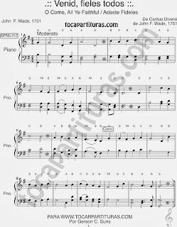 Partitura Fácil de Adeste Fideles para Pianistas Principiantes en Sol Mayor Venid Fieles Easy Sheet Music for beginners in G