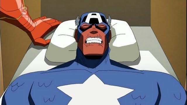 A very gaunt Captain America succumbs to Red Skull's virus.