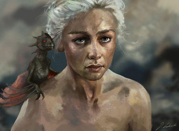 Darek Zabrocki daroz deviantart ilustrações arte conceitual fantasia games Fan-art - Game of thrones: Daenerys