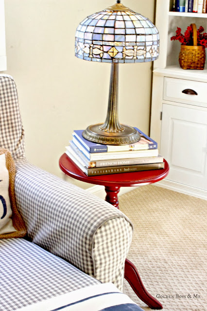 Stained Glass lamp in master bedroom via www.goldenboysandme.com