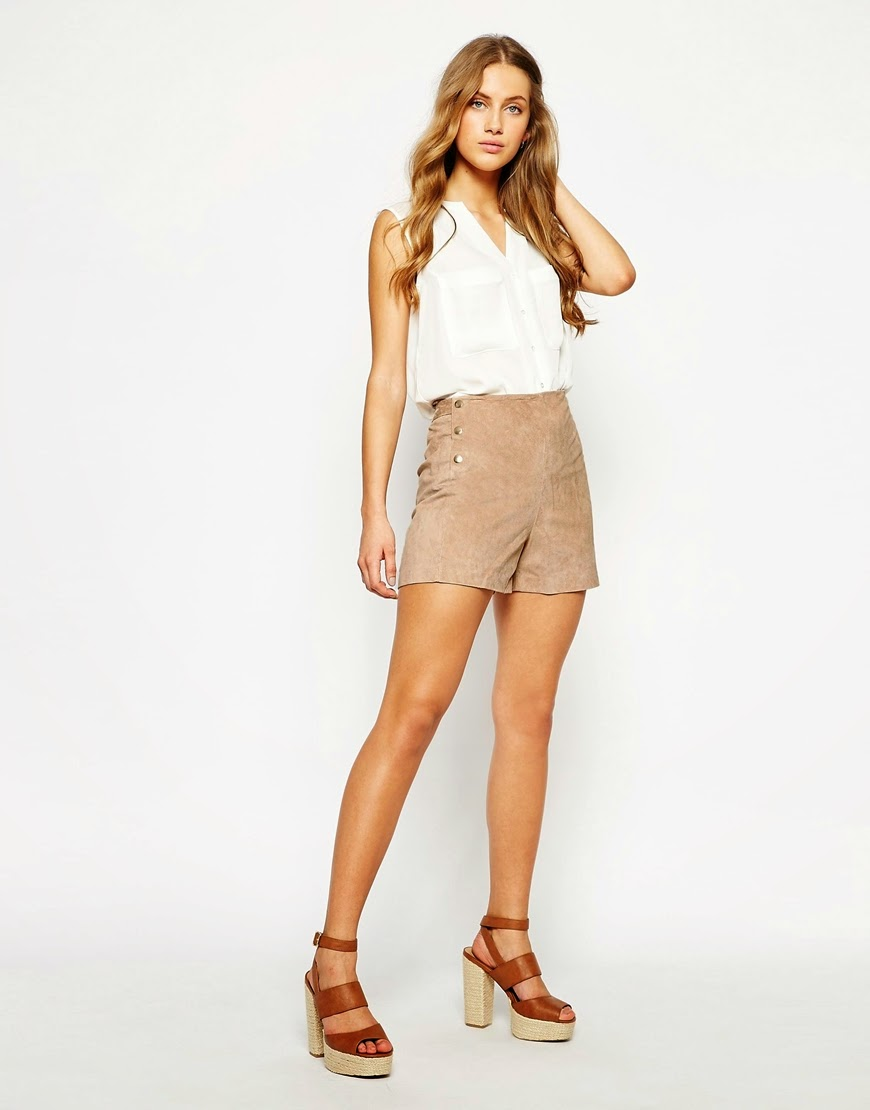 mango brown suede shorts