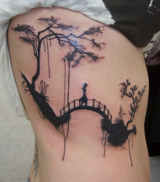 Lonely girl on a bridge tattoo on side body