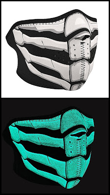 Glow in the Dark Bone Breath Neoprene Half Face Mask