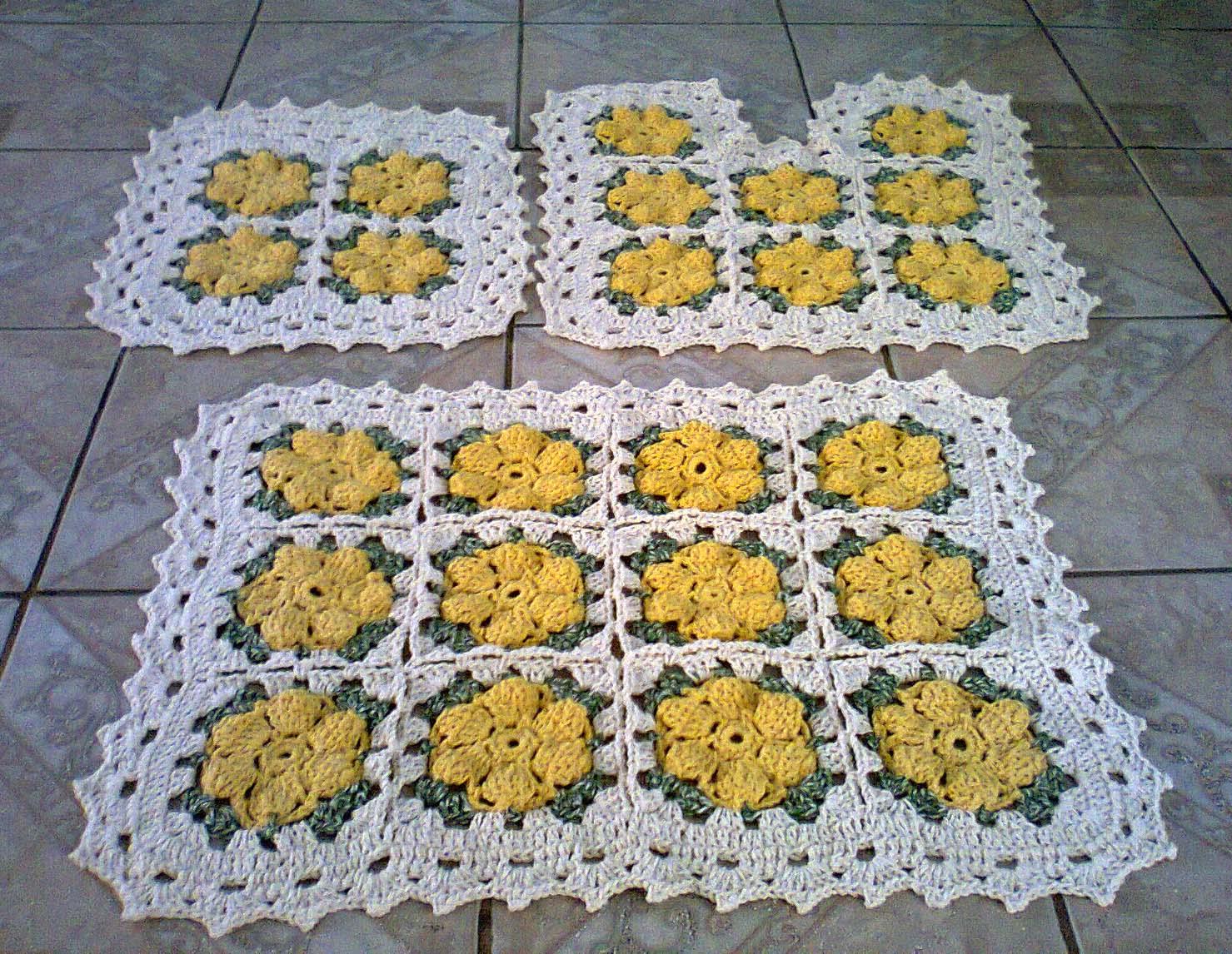 Crochê Meire: jogo banheiro tapete barbante crochê #AB8820 1479x1146 Banheiro Amarelo E Cinza
