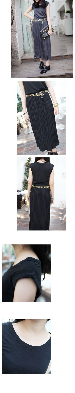 mazzy side cutout dress. Pleated Long Dress 2