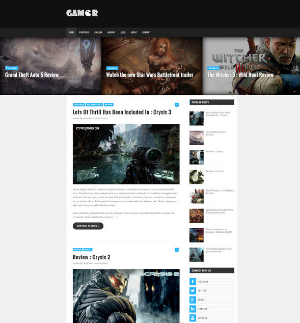Gamer – creative gaming theme
