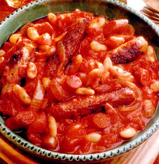 Spicy Sausage and Bean Hotpot: Classic hotpot of chipolata sausages and beans in a spicy tomato base