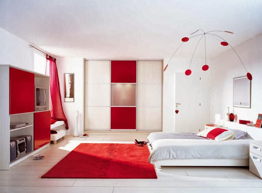 chambre rouge noir et blanc avec des id es. Black Bedroom Furniture Sets. Home Design Ideas