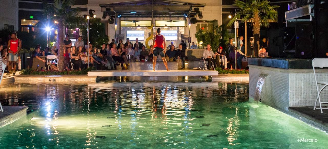 Dallas light and sound poolside fashion show wows the for Pool fashion show