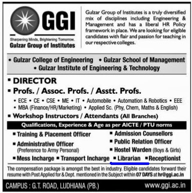 Library Soup : Librarian Vacancy at GGI (Gulzar Group of Institutes ...