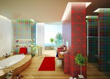 inspirasi desain dinding kamar mandi kreatif contoh
