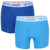 Tokyo Laundry Men's Huck 2-Pack Boxers - Bright Blue/True Blue