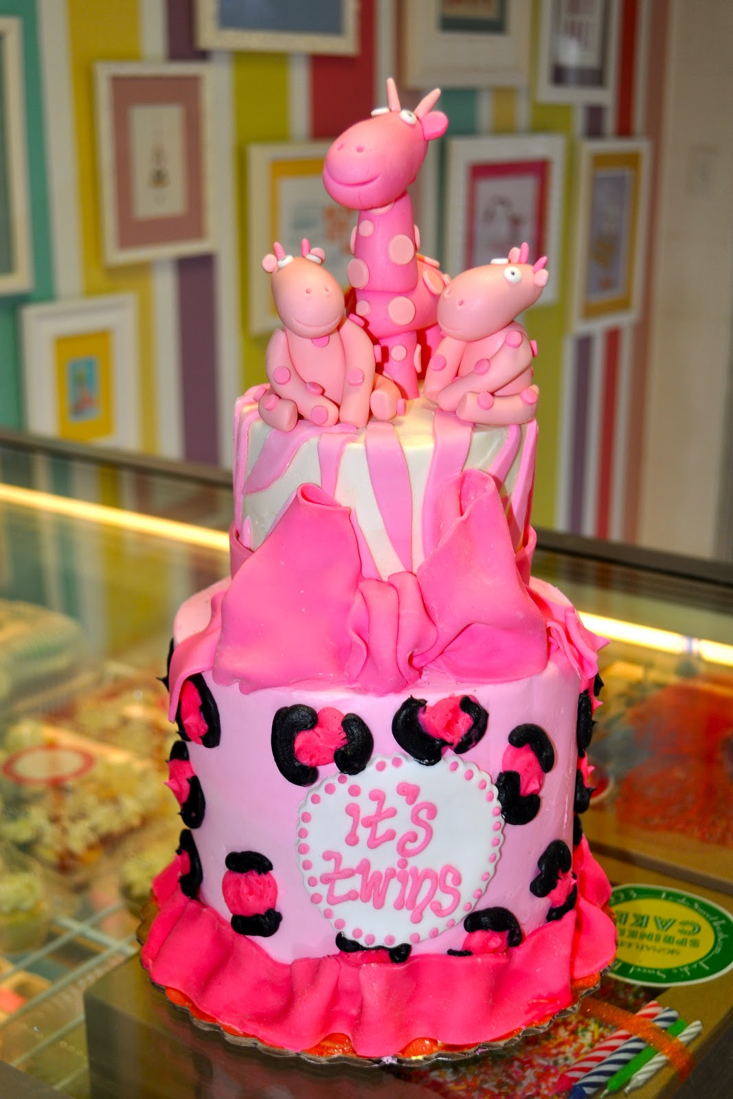 Leahs Sweet Treats Pink Animal Print Twins Baby Shower Cake
