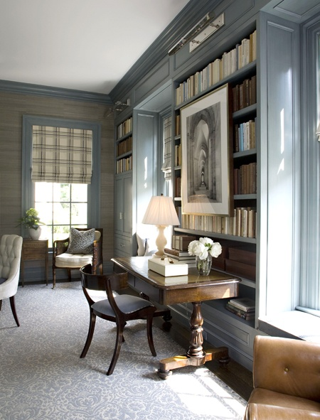 painted home office built ins a perfect gray: gray bookshelves