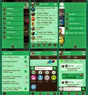 Tampilan BBM + BBM2 Mod Evo Green V.2.8.0.21 Apk Mini Size Terbaru