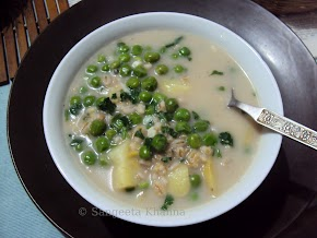 pearl barley and green peas soup in a coconut milk broth...