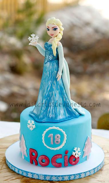 Tarta de fondant de la Reina Elsa de frozen