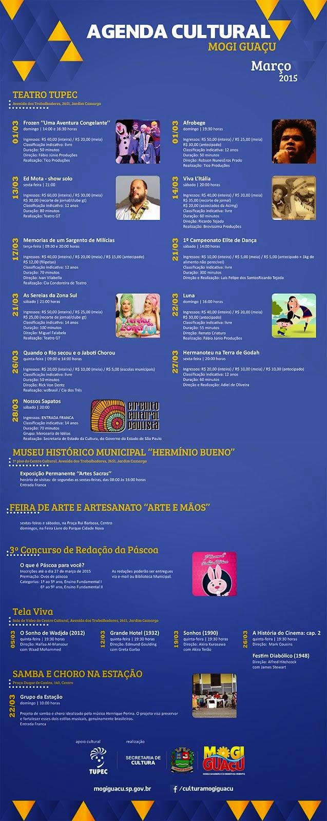 Agenda Cultural em Mogi Guaçu - Março