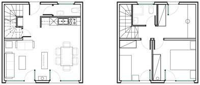 Economic home plans Qubic House concept 72m2 6x6