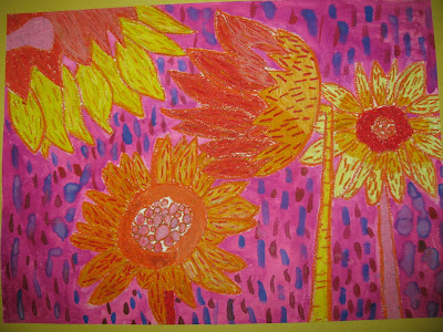 Children's Art, Van Gogh study, elementary, still life, flowers