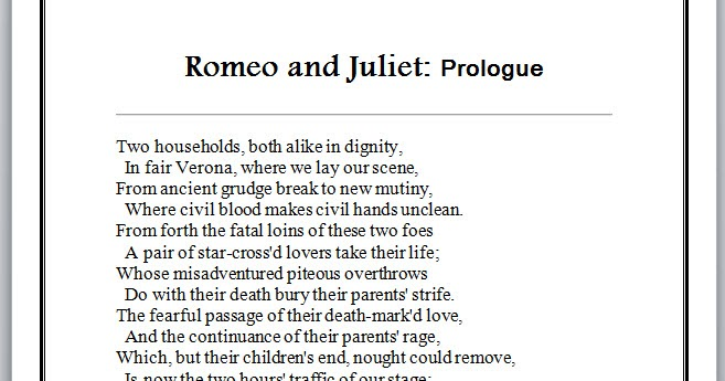 romeo and juliet does the prologue Start studying romeo and juliet: prologue and act 1, scene 1 and 2 learn vocabulary, terms, and more with flashcards, games, and other study tools.