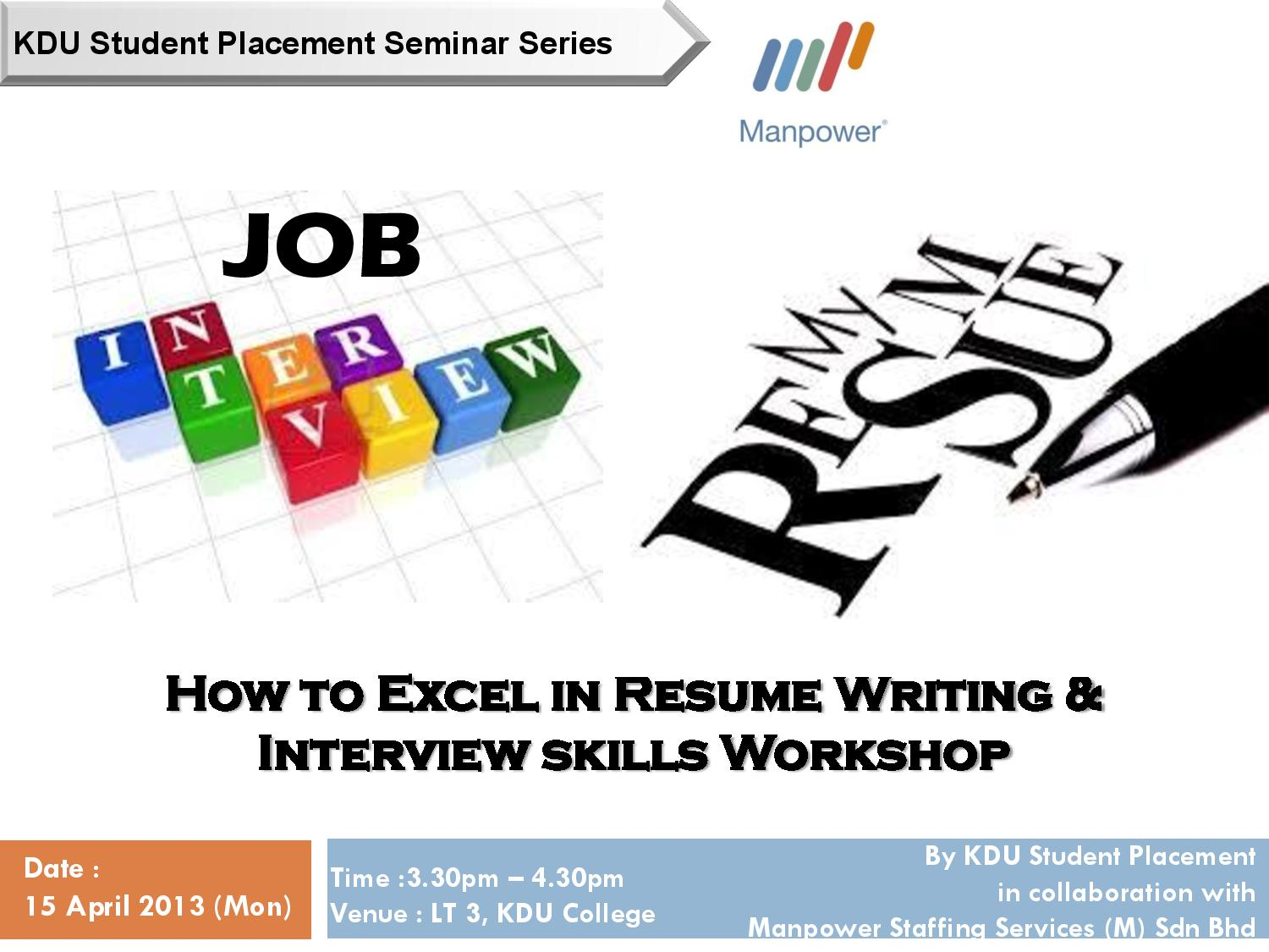 it dept   kdu uc penang   u201chow to excel in resume writing  u0026 interview skills u0026quot  workshop