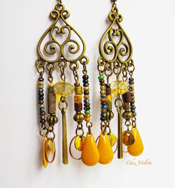 Boucles d'oreilles moutarde attrape rêve - https://www.etsy.com/shop/chezviolette