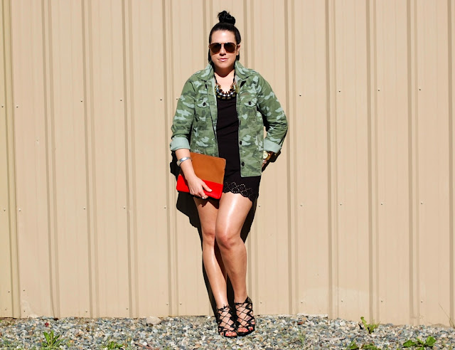 Gap camouflage jacket, Forever 21 romper,Gap two-tone leather clutch and Prabal Gurung for Target heels.