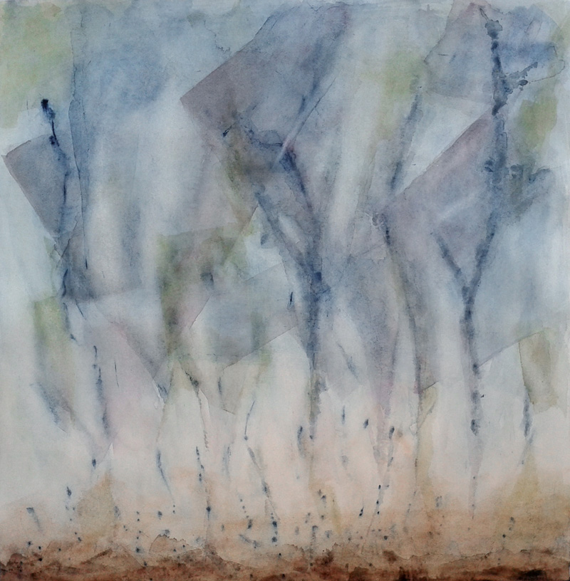 abstract landscape, blue watercolor, geometric and organic compositional elements, rain, skyscape, weather