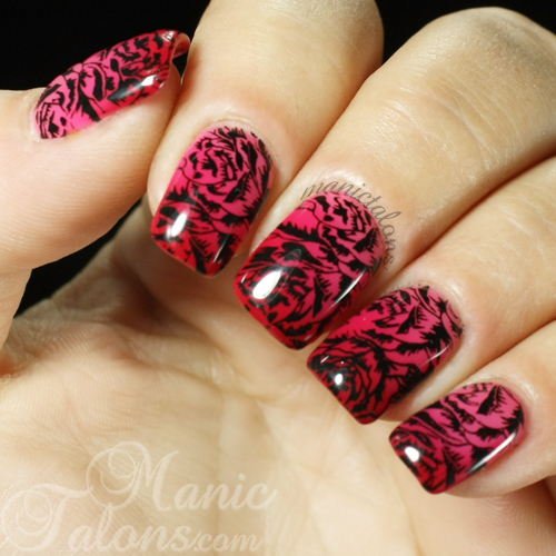 Stamped Roses over LeChat Rosemantic