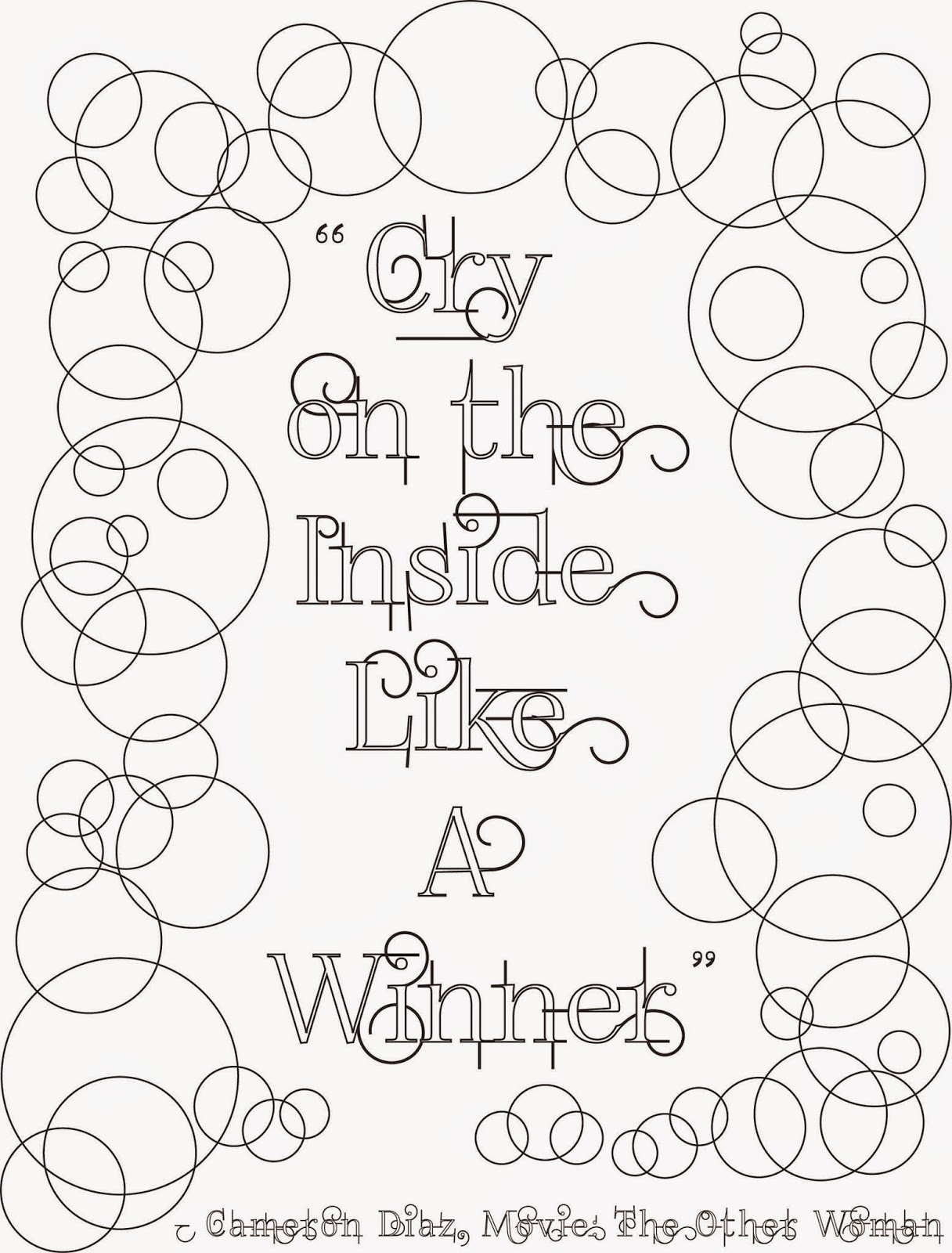 cry on the inside, adult coloring page, stefanie girard, quote, lettering type, bubbles