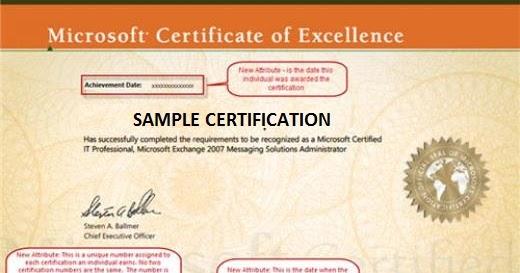 Sertifikasi Microsoft  Microsoft Certificate Of Excellence