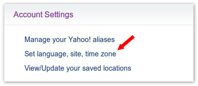edit Yahoo Account Setting