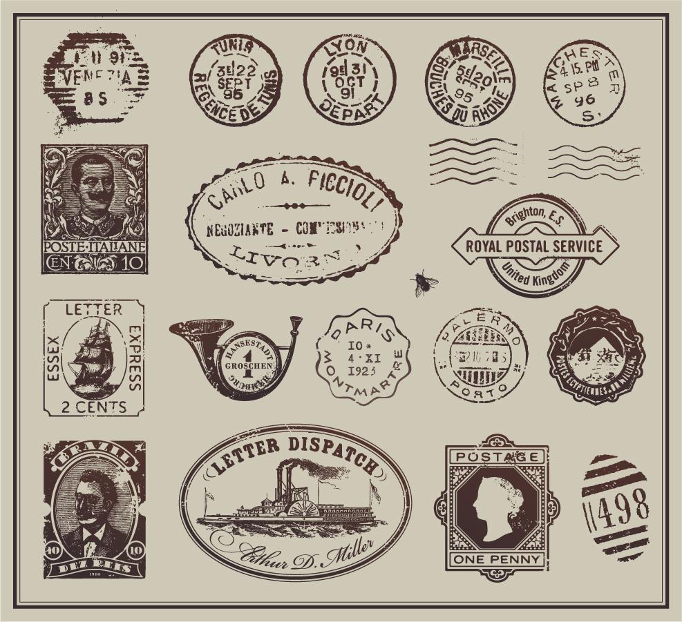 ヴィンテージな郵便切手とスタンプ vintage postage stamps イラスト素材