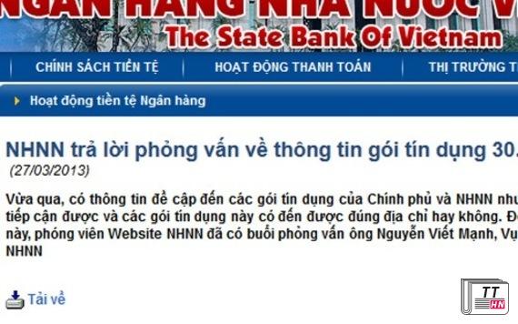 Ngân hàng Nhà nước đăng tải chính thức trên website của mình để bác bỏ phát ngôn của một thứ trưởng của Bộ Kế hoạch và Đầu tư.
