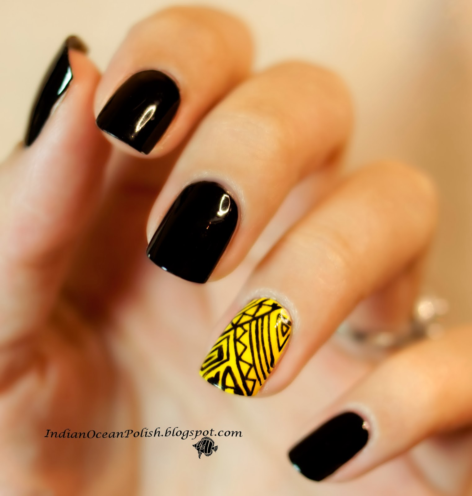 used OPI Black Onyx on the non feature nails, and China Glaze Happy ...