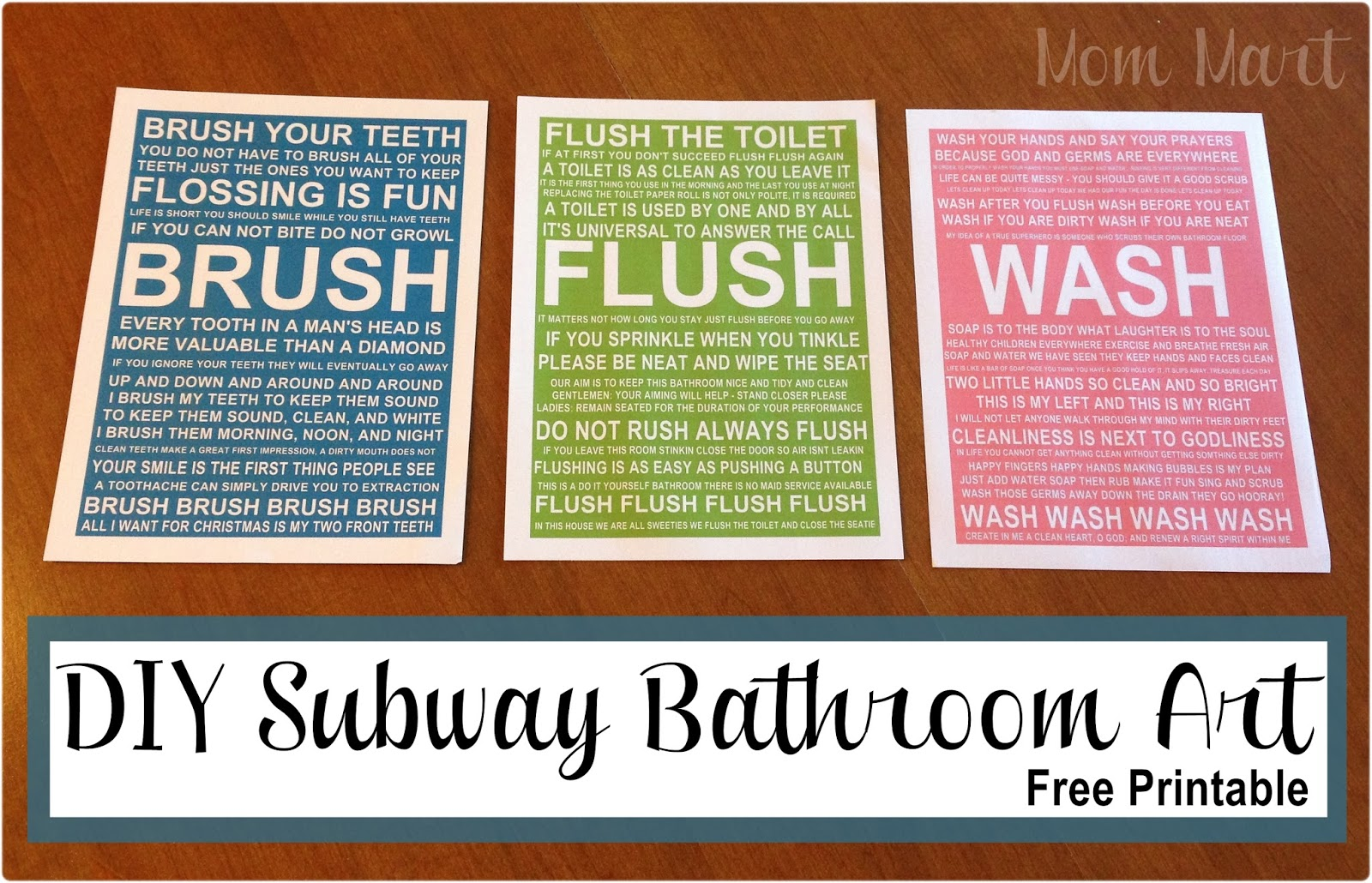 Free Printable Bathroom Art Mom Mart Diy Bathroom Subway Art Freeprintable