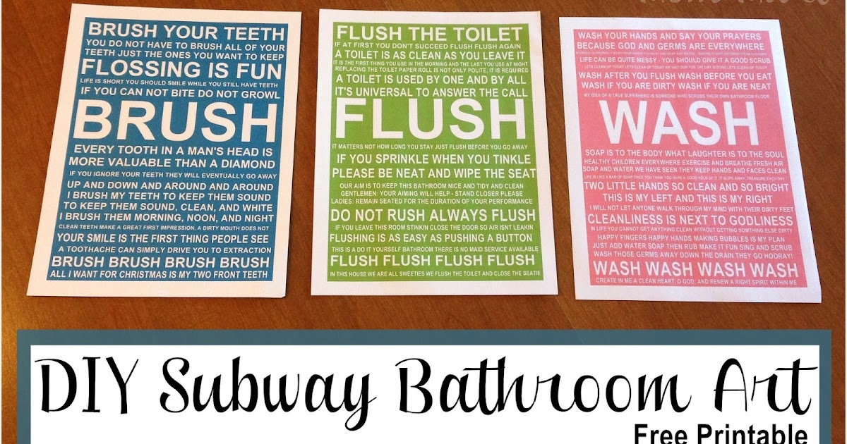 picture about Free Printable Bathroom Art titled Mother Mart: Do it yourself Toilet Subway Artwork #FreePrintable