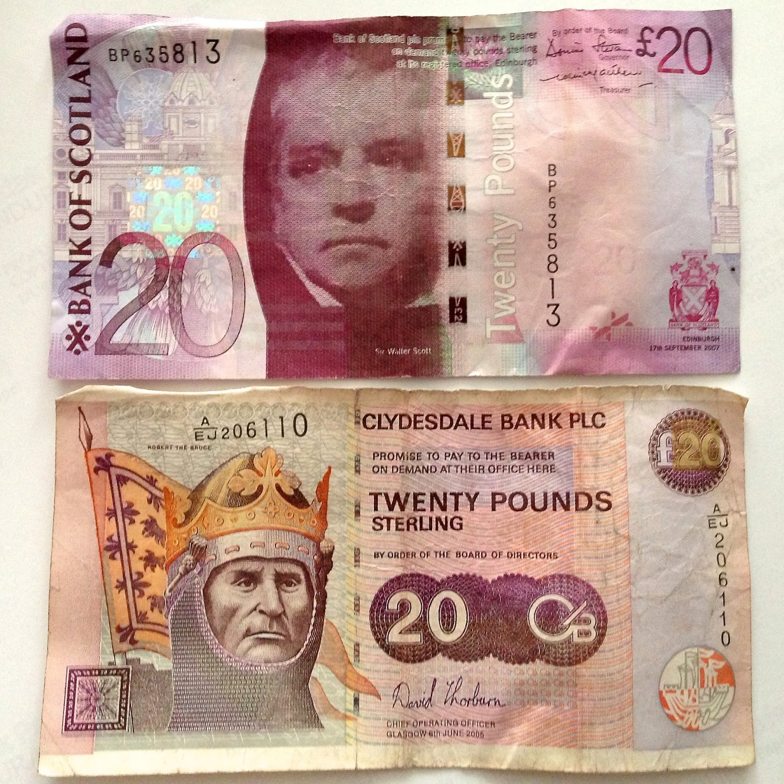 Twenty pound notes (front) from Bank of Scotland and Clydesdale Bank