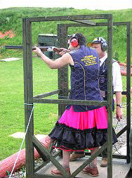 Stag shooting in a dress