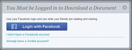 login scribd dengan facebook