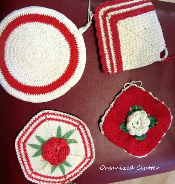 Crocheted Potholders www.organizedclutterqueen.blogspot.com